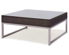 Caluco Mirabella All-Weather Wicker Square Coffee Table contemporary-outdoor-dining-tables