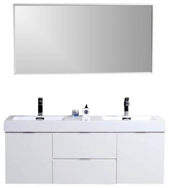 "Bliss 60"" White Wall Mount Double Sink Modern Bathroom ..."