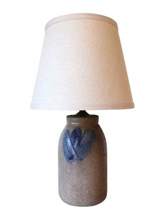 Stoneware Lamp with Cream Linen - Sweet little table lamp. Made from a converted Stoneware Jug. Fully operational. With linen shade.
