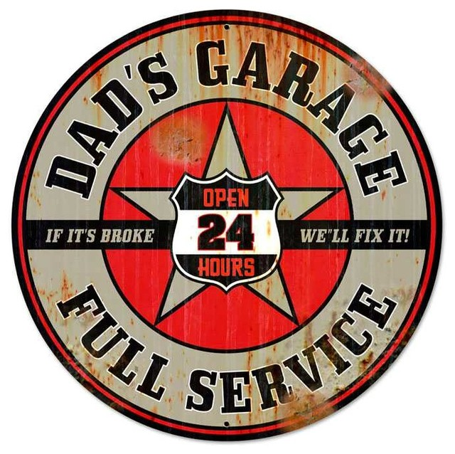 Dads Garage Round Metal Sign 28 x 28 Inches eclectic-accessories-and-decor
