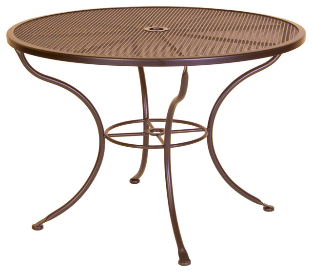 Micro Mesh 42 Round Dining Table With 2 Umbrella Hole Eclectic Ou