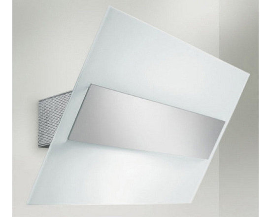 """Zaneen Lighting - Gea Wall Sconce Strip Light in Chrome - Features: -One light wall sconce. -Gea collection. -Designed by: Poom-Lab. -Chrome finish. -Available in sanded and frost white glass types. -Approved by CSA for North American Standards. Specifications: -Accommodates: 1x100W or 1x150W T3Q halogen bulb (not included). -Small overall dimensions: 6.75"""" H x 7.5"""" W x 5.25"""" D. -Large overall dimensions: 7"""" H x 11.5"""" W x 5.25"""" D."""