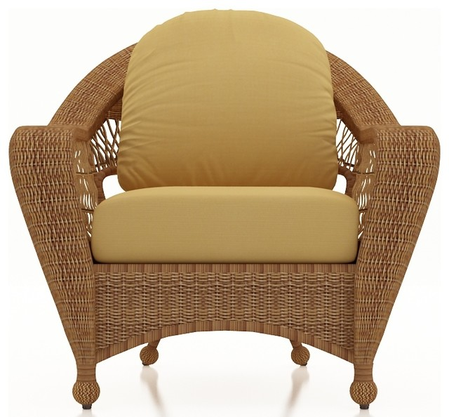 Catalina Rattan Patio Lounge Chair, Straw Wicker, Wheat Cushions traditional-outdoor-lounge-chairs