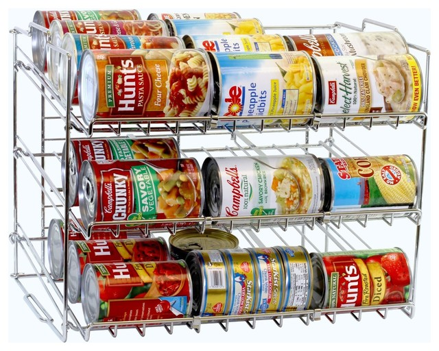 DecoBros Supreme Stackable Can Rack Organizer, Chrome Finish - Contemporary - Pantry And Cabinet ...
