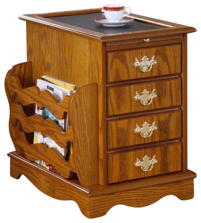 Oak Magazine Cabinet With Storage Traditional Side