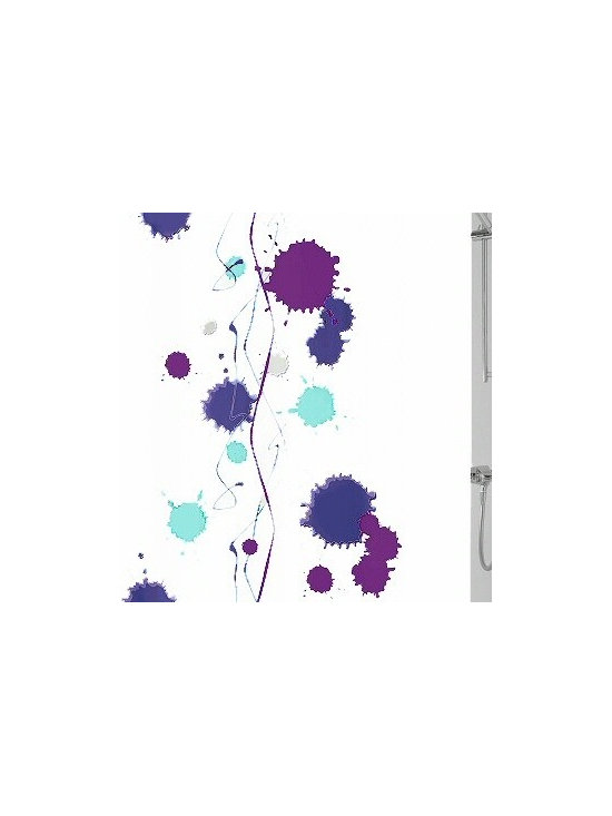 Klexx Modern Fabric Shower Curtain from Vita Futura - Our Klexx fabric shower curtain has a modern design of royal blue, deep purple, soft light grey and aqua on solid white background. Much like the shower curtains you find in many luxury hotels and spas, this shower curtain does not require the use of a shower curtain liner. Made of quick-dry and easy-care fabric.  Our shower curtains along with all of the products we offer, are designed and produced in Germany.