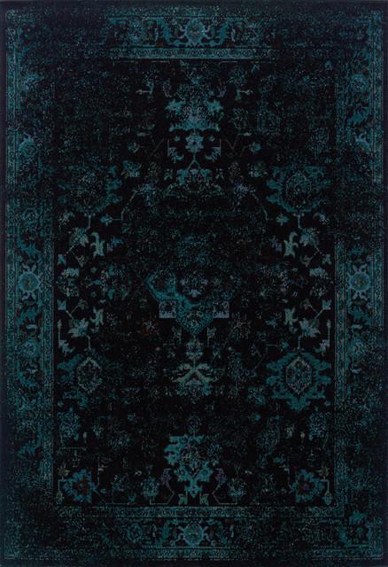 Indoor Black/ Teal Area Rug contemporary-rugs