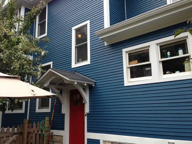 Blue Hardie Plank Siding With Red Door Amp White Hardie Trim