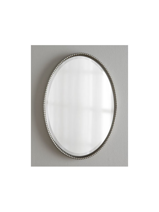 """Horchow - Sherise Oval Mirror - Elegant in its simplicity, this oval beveled mirror is held within a beaded frame. Frame made of hand-forged metal. Brushed-nickel finish. Hangs vertically or horizontally. D-rings on back for hanging. 22""""W x 1.75""""D x 32""""T. Imported. Boxed weight..."""