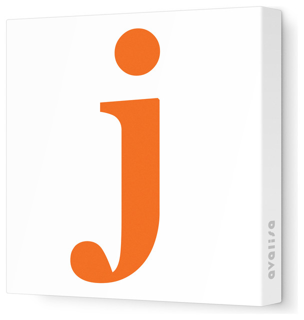 """Letter - Lower Case 'j' Stretched Wall Art, 12"""" x 12"""", Pumpkin contemporary-artwork"""