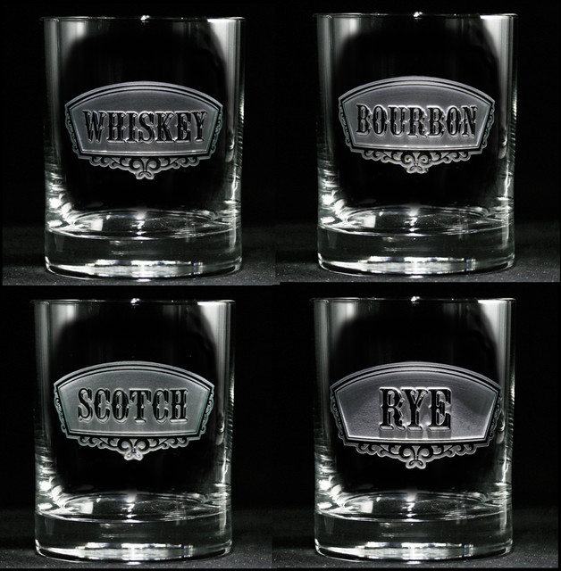Whiskey, Bourbon, Rye, Scotch Glass Set of 4 - Traditional - by Crystal Imagery