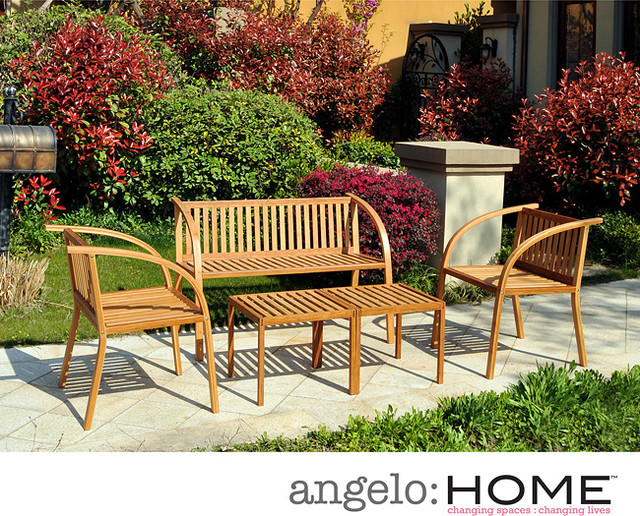 Angelo home vineyard bamboo garden 5 piece indoor outdoor furniture set contemporary patio Angelo home patio furniture