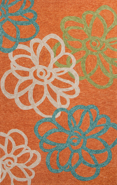 Floral Pattern Polyester Orange Blue Indoor Outdoor Area