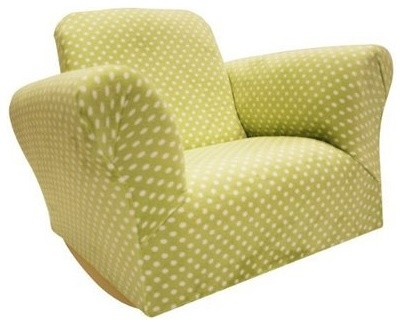 Newco Upholstered Kids Rocker Chair, Green Polka Dot contemporary-kids-chairs