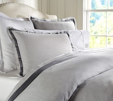 linen with silk trim duvet cover king cal king smoke gray traditional duvet covers and. Black Bedroom Furniture Sets. Home Design Ideas