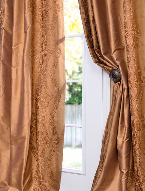 chai brown gold silk curtain traditional curtains san francisco by half price drapes. Black Bedroom Furniture Sets. Home Design Ideas