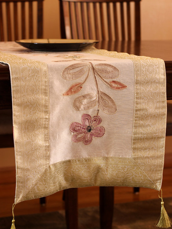 """Elegant Table Runners - Beautiful """"Hand Painted"""" table runner. Beige color. Decorative Indian design."""