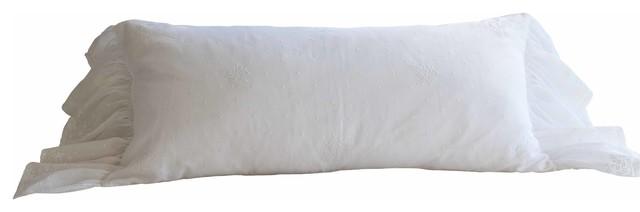 Daisy Dot White Bolster Pillow traditional-decorative-pillows