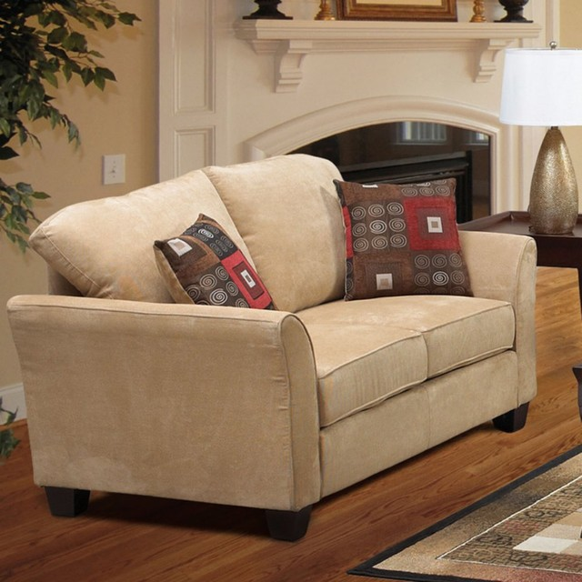 Pillows Traditional Sofa: Welton Buck Light Brown Microfiber Sofa With Accent