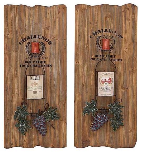 Wine Lover's Vineyard Wood Wall Art Set of 2 mediterranean-artwork