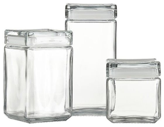 Stackable Glass Storage Jars modern-kitchen-canisters-and-jars