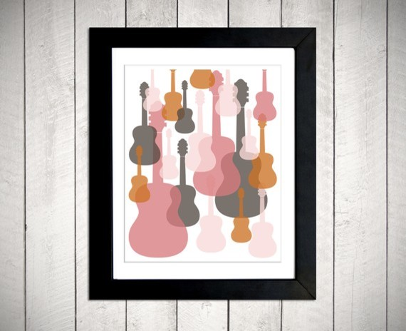Modern Guitars Nursery Wall Art By metrobabycards modern nursery decor