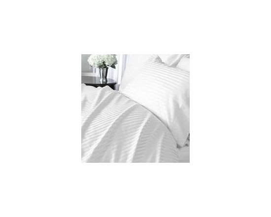 Luxor White Striped 1200 Thread Count Egyptian Cotton Bed Sheet Sets, Queen -