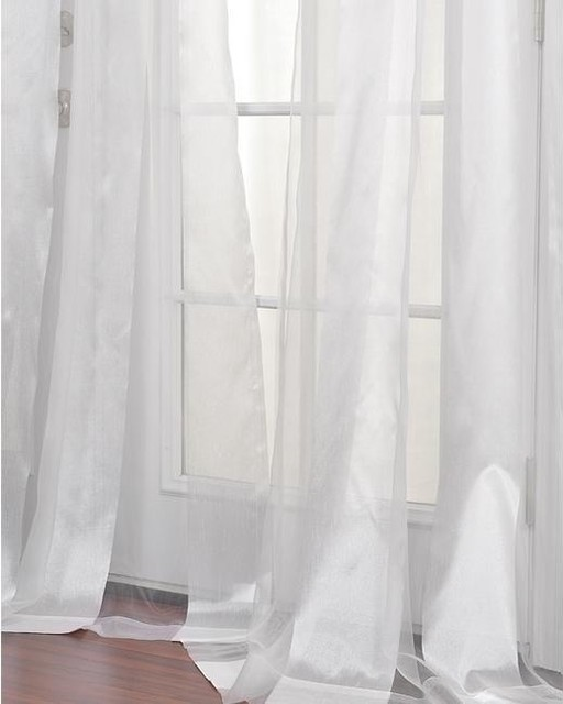 White Striped 96-inch Sheer Curtain Panel modern-curtains