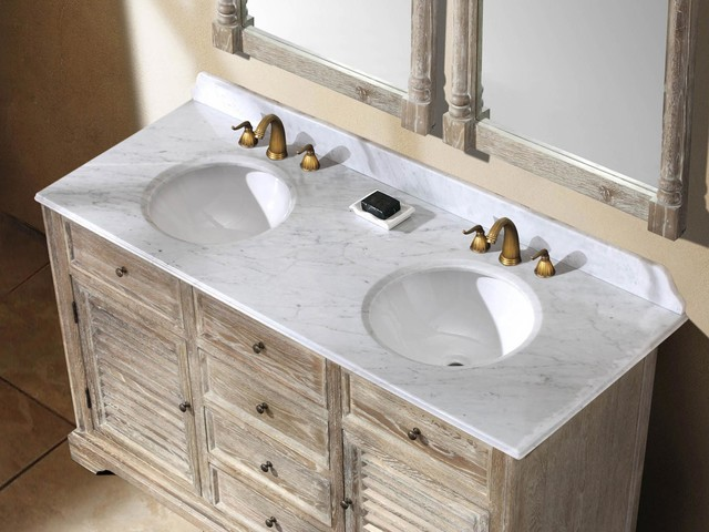 """59.25"""" Paliano Double Sink Vanity - Driftwood traditional"""