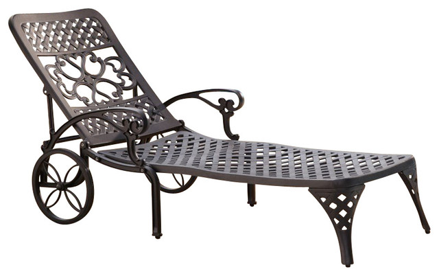Home styles biscayne black chaise lounge chair for Black chaise lounge outdoor