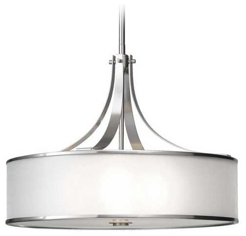 Drum Pendant Light with Silver Shade in Brushed Steel Finish pendant-lighting