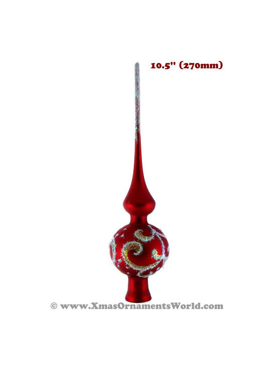 """""""Sapphire"""" Red Glass Christmas Tree Topper - This vintage style Christmas Tree topper is 10.5'' (270mm) tall and made of hand blown glass. It is hand painted by a skilled artist and will be a beautiful addition to your Christmas ornaments collection. Artists use same painting technique that was used in 1800's. Each glass ornament is painted individually which makes them unique and adds some small variations to each product."""