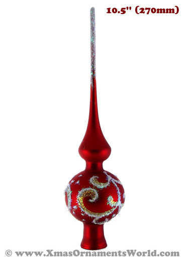 """""""Sapphire"""" Red Glass Christmas Tree Topper traditional-christmas-ornaments"""