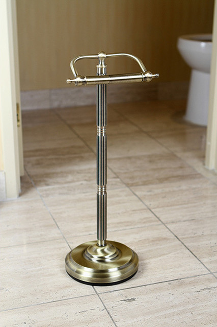 Antique Brass Free Standing Paper Holder Contemporary