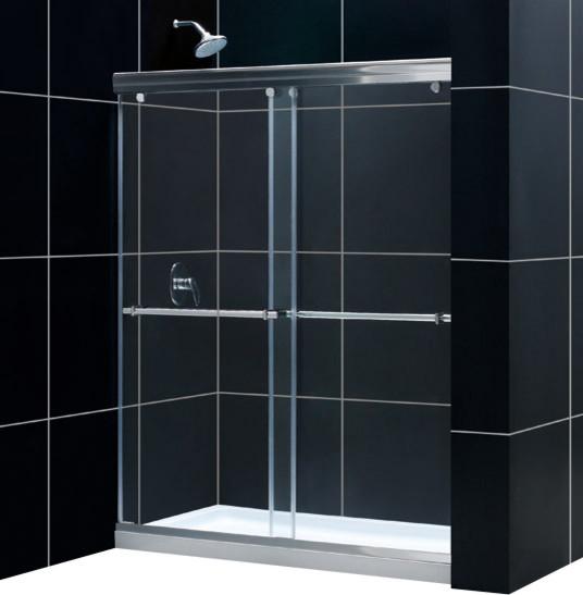 DreamLine Charisma Frameless Bypass Sliding Shower Door and SlimLine contemporary-showers