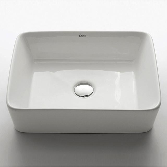Sink Kraus : Kraus White Rectangular Ceramic Vessel Sink - Contemporary - Bathroom ...