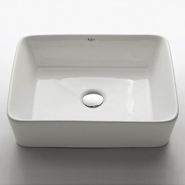 Kraus White Rectangular Ceramic Vessel Sink - Contemporary - Bathroom ...