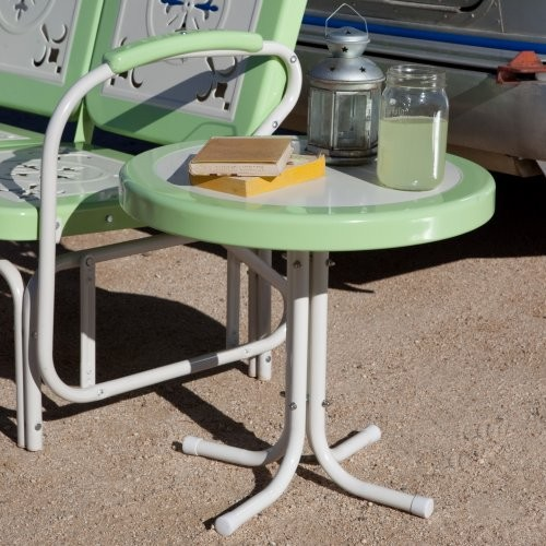 Get nostalgic without compromising quality - the Paradise Cove Metal 22 Inch Rou traditional-outdoor-dining-tables
