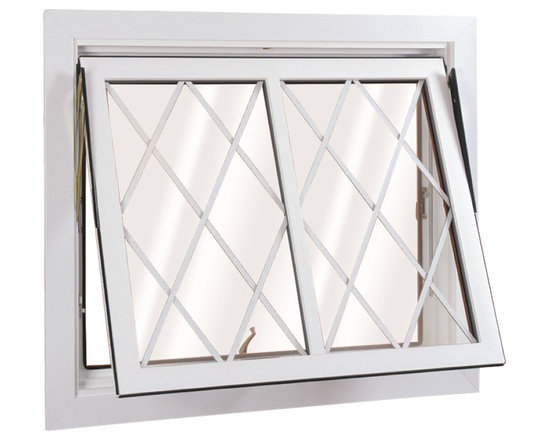 "Flip & Wash Windows - Open exterior view of 2 Lite Wellington Flip and Wash Window; shown in White with 5/8"" Flat Diamond Grids."