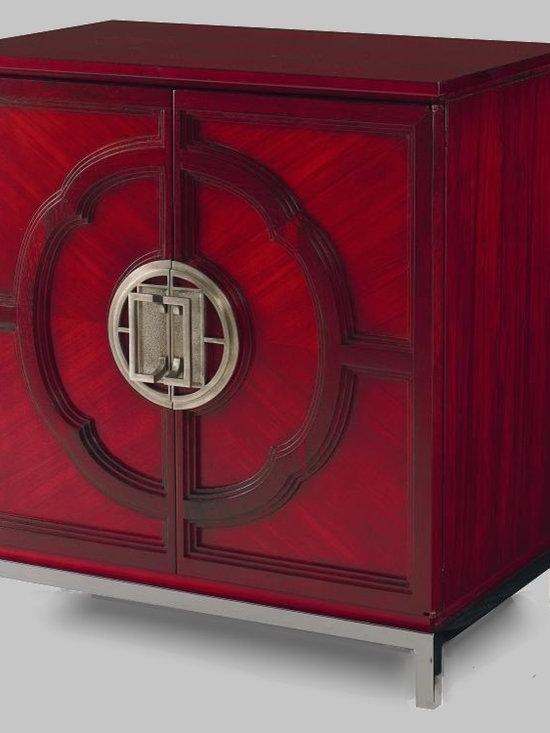 Cool Stuff - Chin Hua LOTUS DOOR CHEST - Maple & Walnut solids and Satin Walnut & Primavera veneers -  behind two doors is one adjustable shelf. -  Finish Garnet
