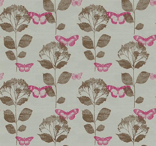 Butterfly Garden Wallpaper, Fuschia contemporary-wallpaper