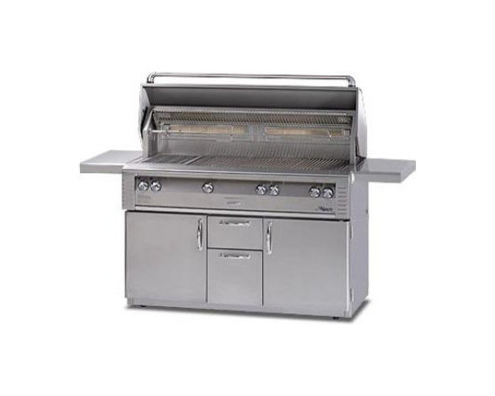Alfresco 56'' Lx2 On-cart Deluxe Grill, Stainless Steel Natural Gas | ALX256C-NG - Three high-temp stainless steel main burners producing 82,500 BTUs. Optional Sear Zone with 27,500 BTU ceramic infrared burner.