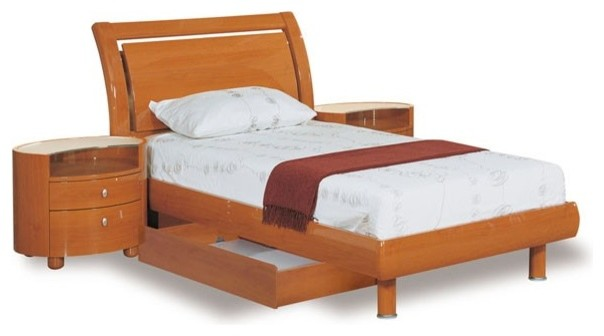Global Furniture Emily Twin Sleigh Bed In Cherry Emily