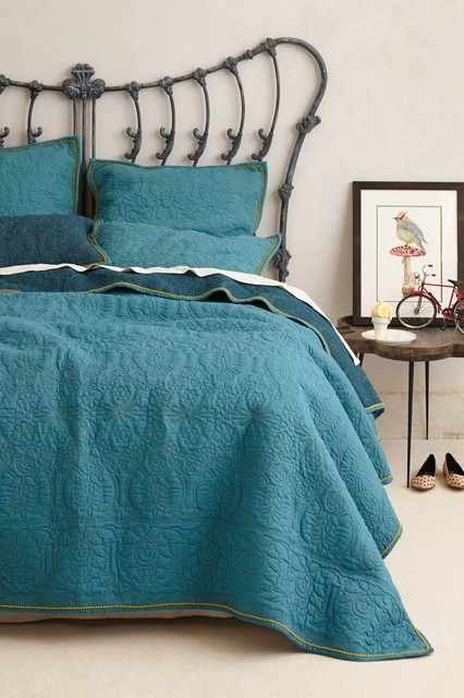 Marseille Coverlet Dark Turquoise Contemporary Quilts