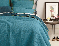 Marseille Coverlet, Dark Turquoise contemporary-quilts