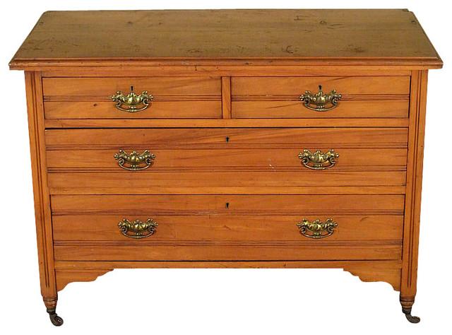 Antique English Walnut Satin 4 Drawer Vanity Chest Dresser traditional-dressers