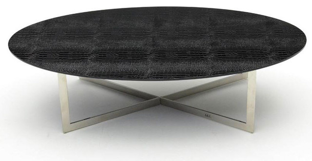 Modern crocodile black oval top coffee table tendo for Contemporary oval coffee tables