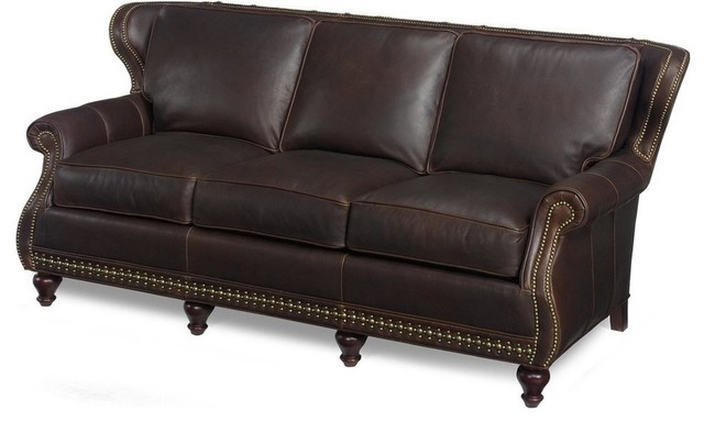 Wood brown leather sofa traditional sofas by euroluxhome for Traditional brown leather couch