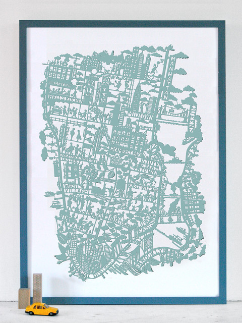 NYC Paper Cut Map Print contemporary kids decor