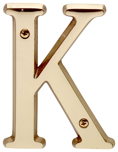 House Numbers Bright Solid Brass 4 House Letter K